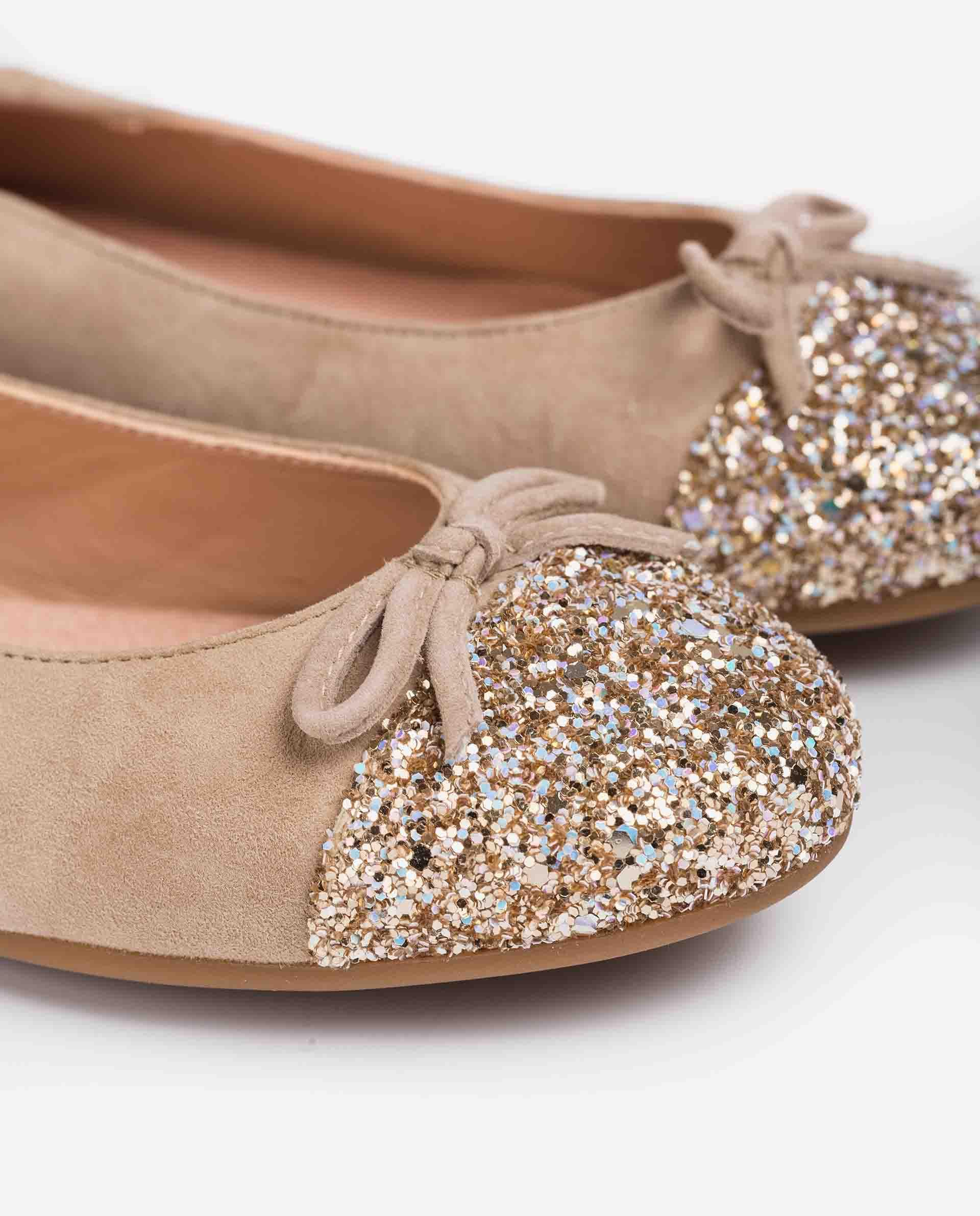 UNISA Kid suede and glitter ballerinas for little girls DINO_21_KS_GL 2
