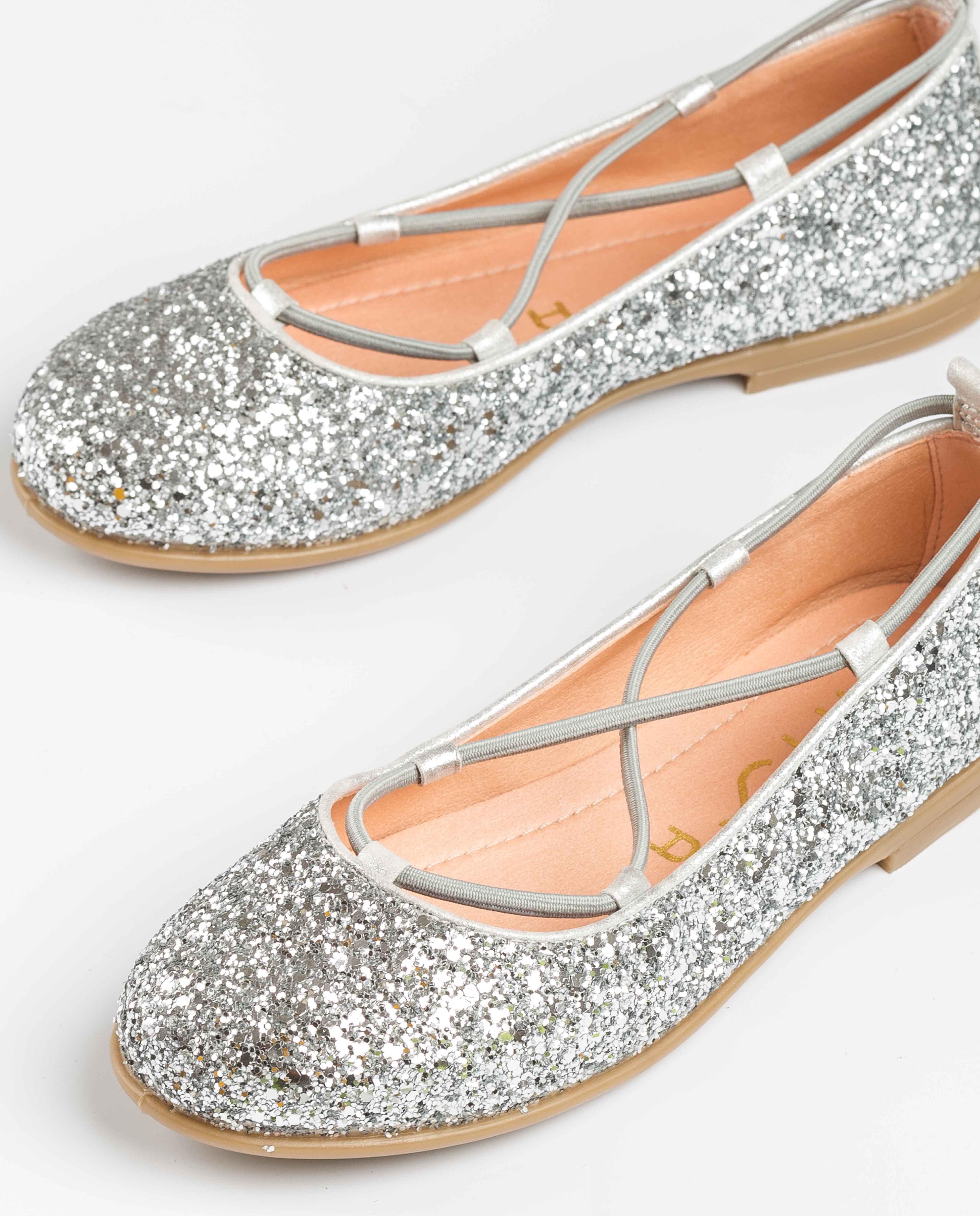 UNISA Glitter ballerinas crossed elastic SEIMY_20_GL silver 2