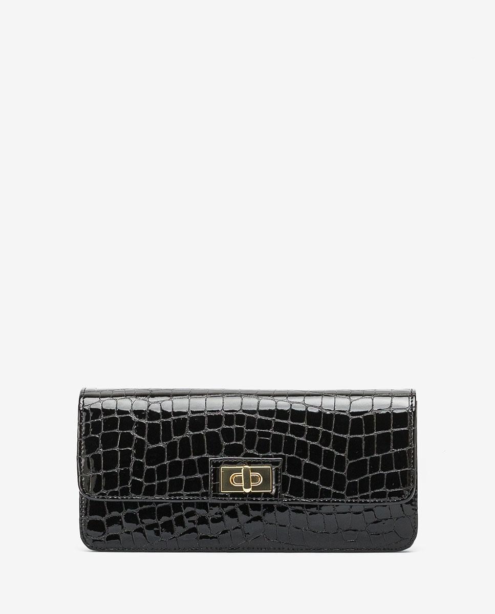 UNISA Croc effect patent leather handbag ZANASE_CSH black 2