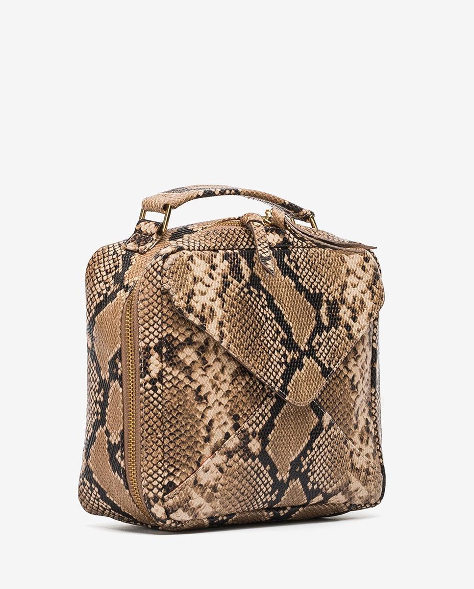 UNISA Small snake effect box handbag ZETICO_VIP ginger 2