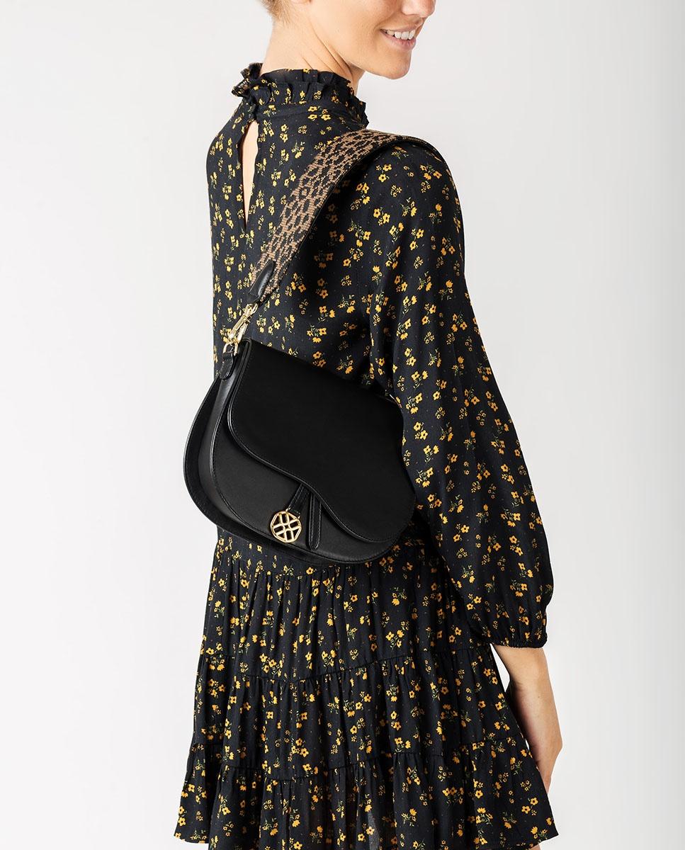 UNISA Kid suede handbag with leopard shoulder strap ZFUSO_NT_LEO black 2