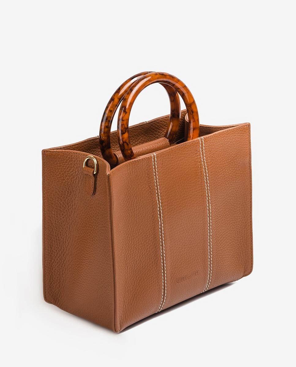 UNISA Square leather handbag ZKAISSY_MM saddle 2