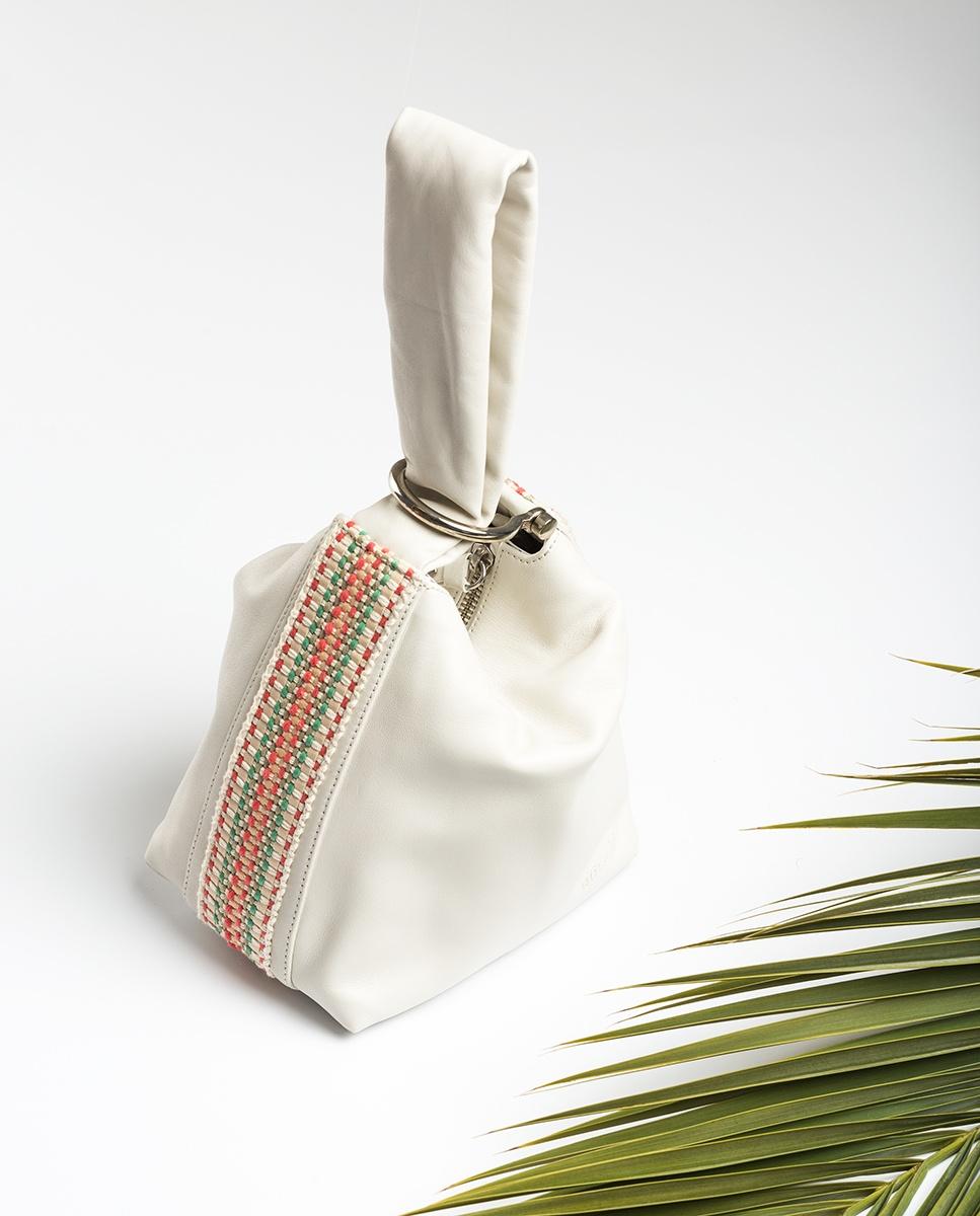 UNISA Leather bucket bag ZLOFTY_MM ivory 2