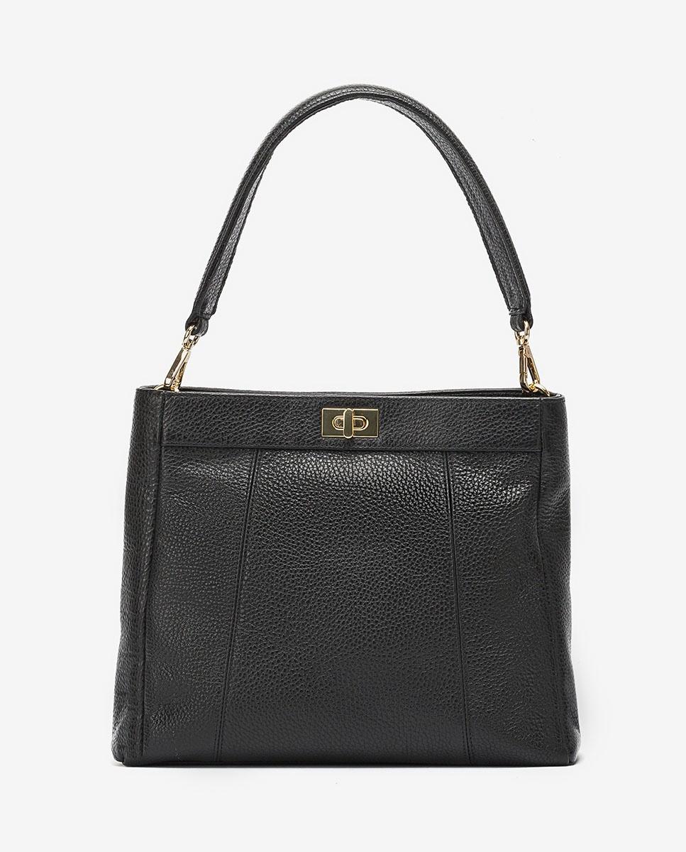 UNISA Leather handbag with handle ZMOUSSI_MM black 2