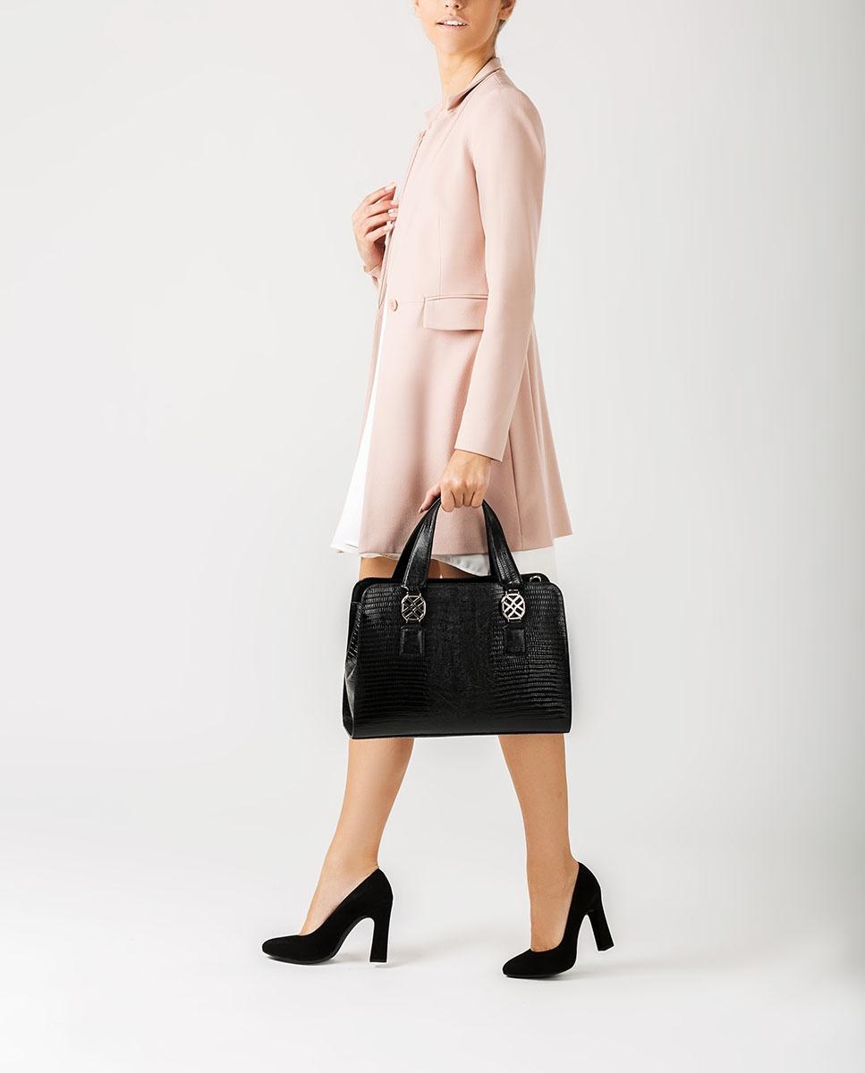 UNISA Medium size snake effect handbag ZNANA_LU black 2