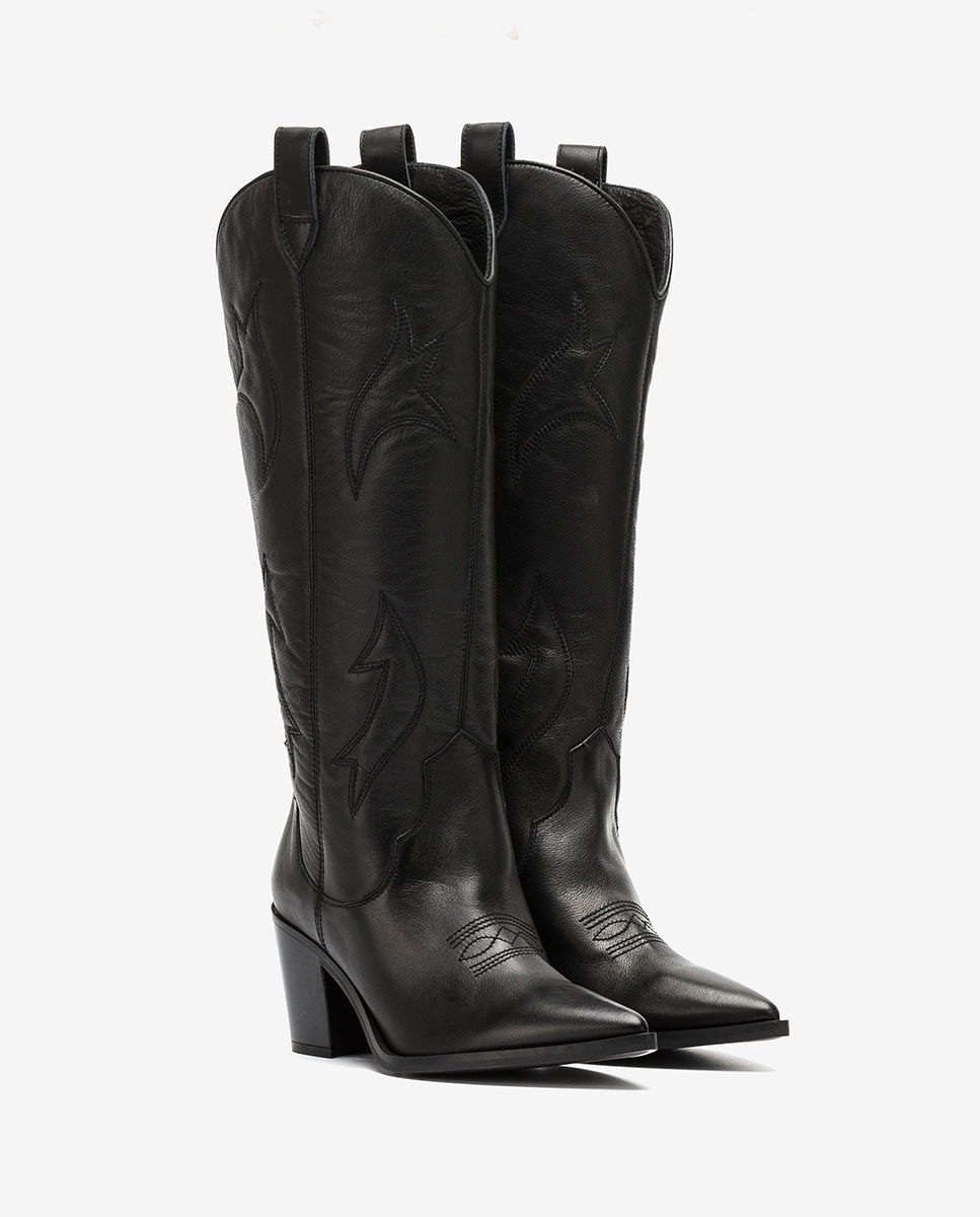 UNISA Black embroidery Cowboy boots MIRABEL_CRE black 2
