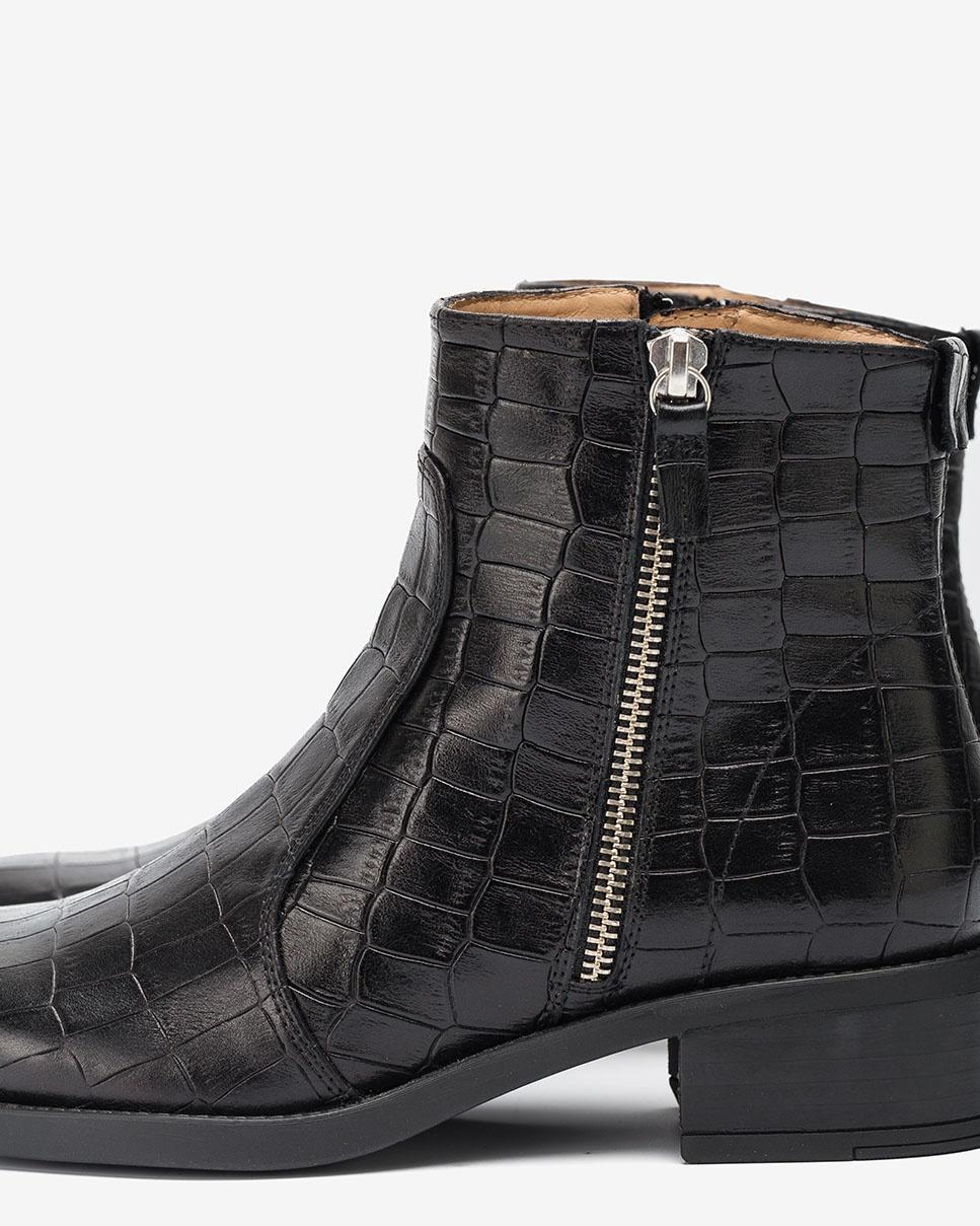 UNISA Croc zip ankle boots EBRAS_MAL black 2