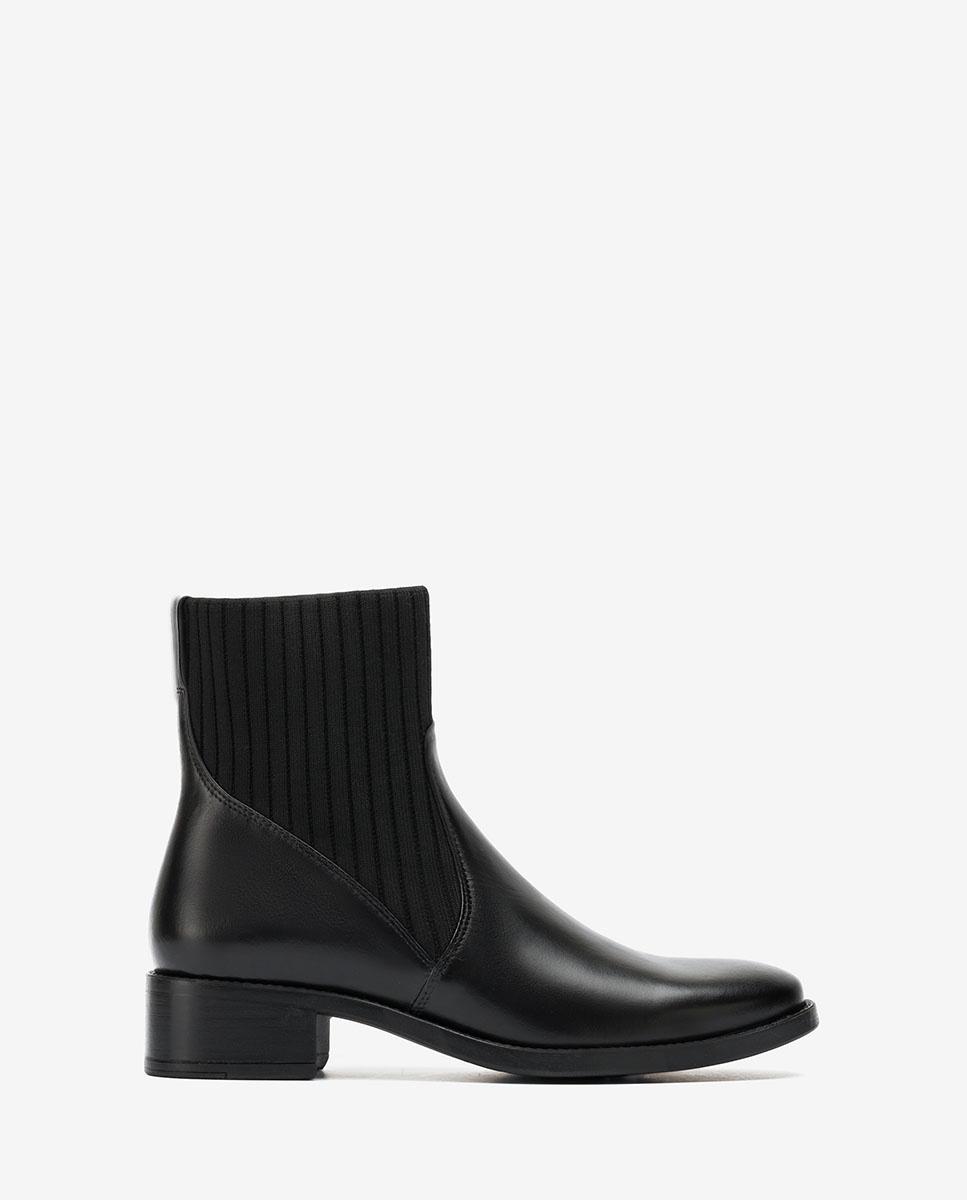 UNISA Black leather ankle boots with sock ELLEN_F20_NE black 2