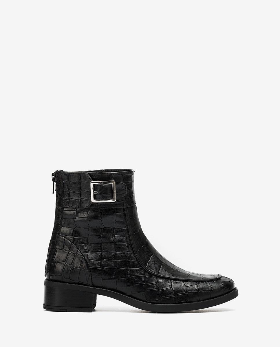 UNISA Black croc ankle boots ENDO_MAL black 2