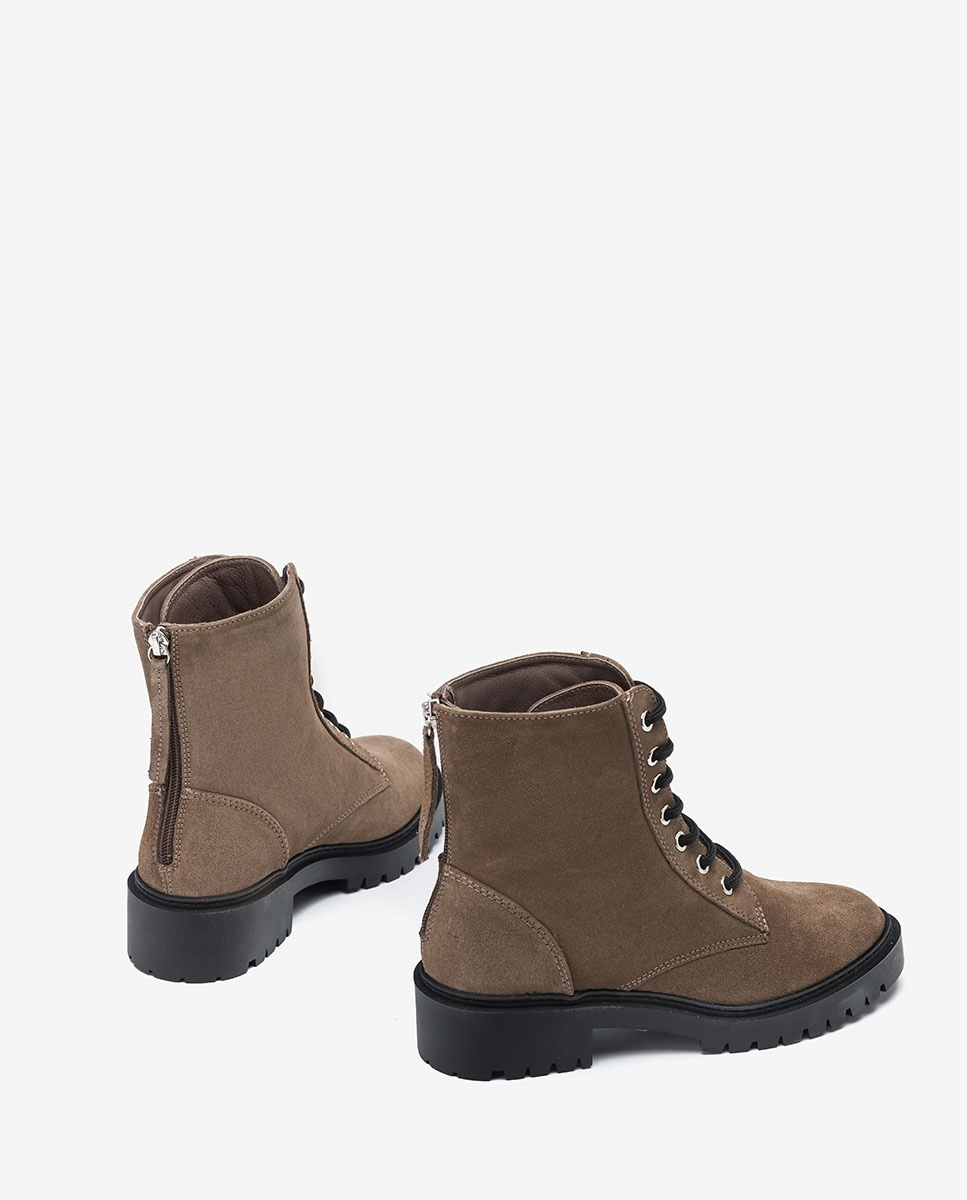 UNISA Women´s kid suede military style ankle boots GISPER_BS taupe 2