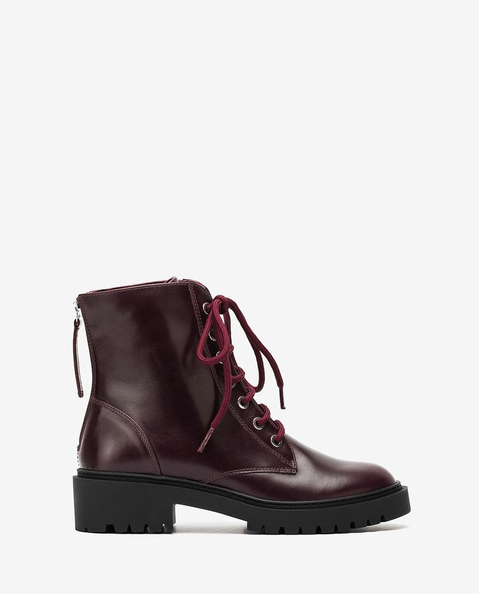 UNISA Women´s burgundy military style ankle boots GISPER_NE grape 2
