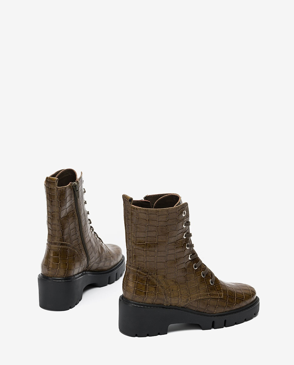 UNISA Engraved leather military style ankle boots JRISO_MAL hunter 2