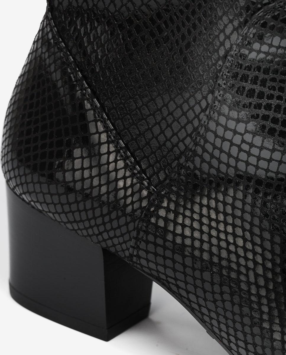 UNISA Snake effect elastic akle boots JUANDE_STPY black 2