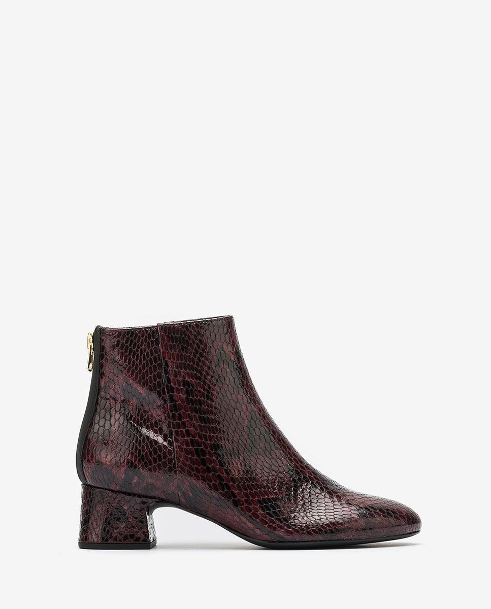 UNISA Snake effect burgundy patent leather ankle boots LOLITA_VSH grape 2