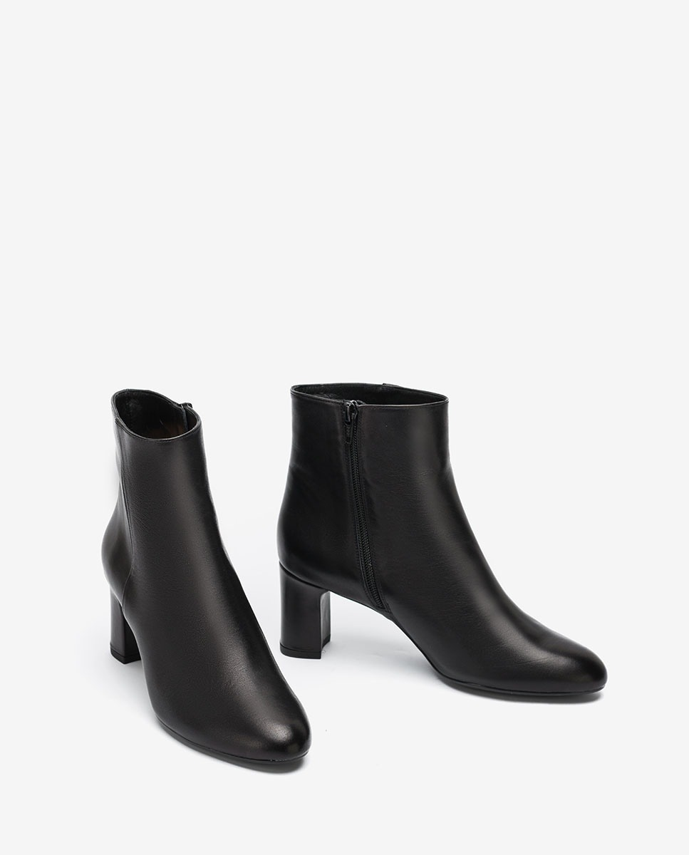 UNISA Black leather heeled ankle boots MARLIN_VU black 2