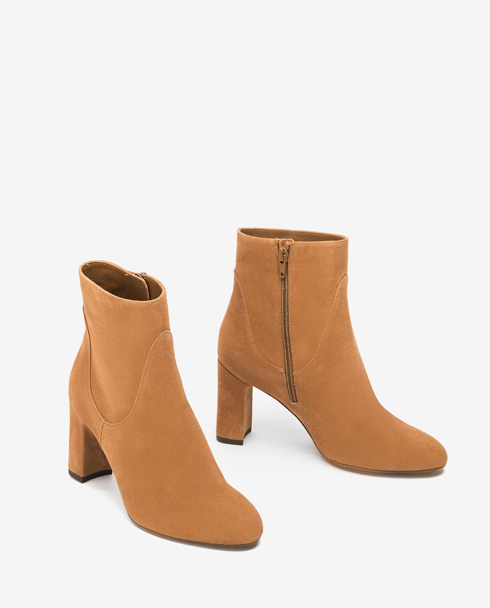 UNISA Heeled kid suede ankle boots UDELLA_KS cobnut 2