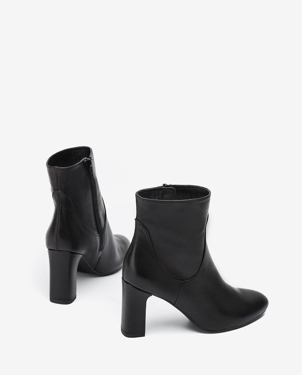 UNISA Heeled black leather ankle boots UDELLA_VU black 2