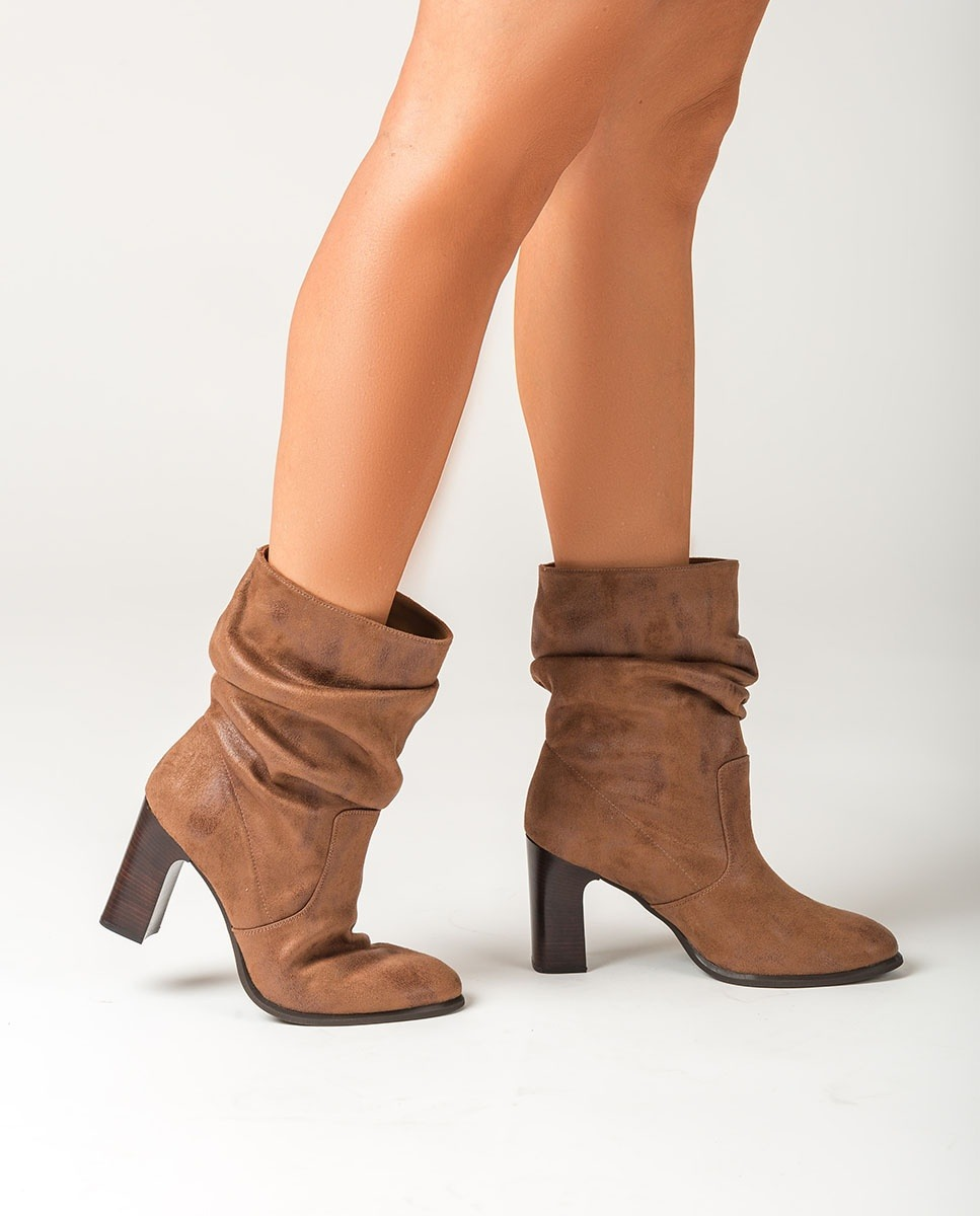 UNISA Brown slouch shaft ankle boots ULANO_F20_STG cumin 2