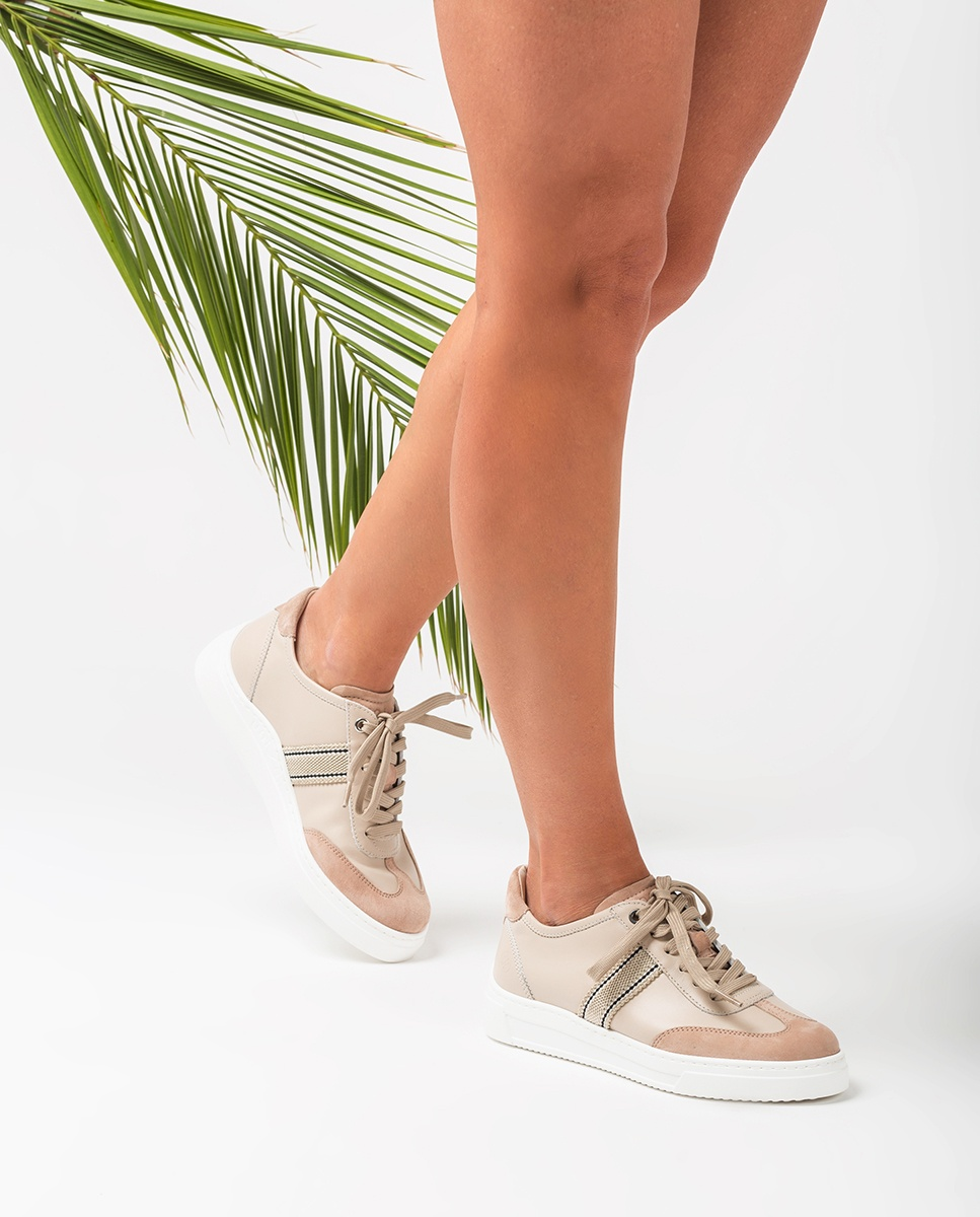 UNISA Leather sneakers with wide fabric striped strap FELIU_NF skin/natur 2