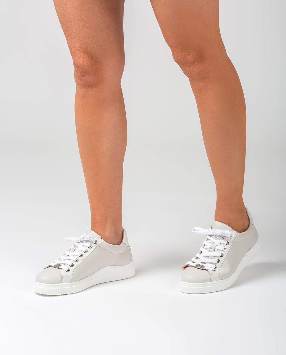 UNISA Croc effect leather contrast sneakers FRANCI_20_NF_CRW ivory 2