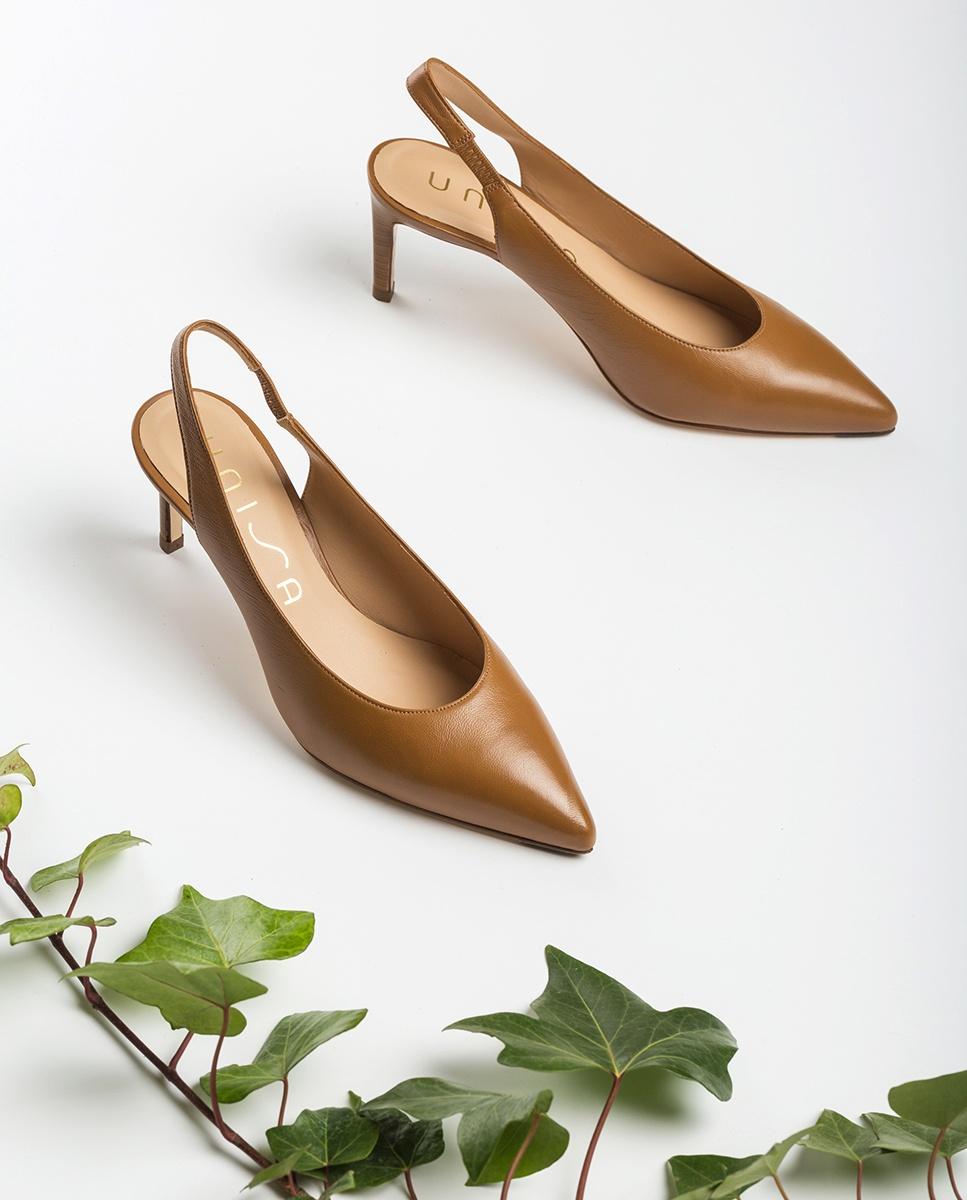 UNISA Leather slingbacks with wood effect thin heel LEGAZ_NA bisquit 2