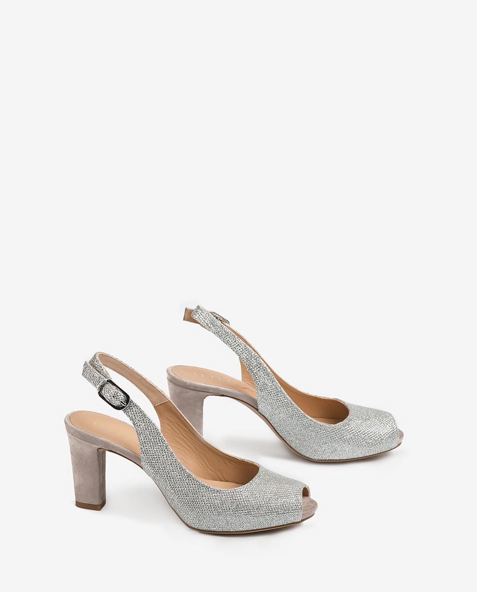 UNISA Shine peep toe slingbacks NICKA_CLAS_20_EV_KS silver 2