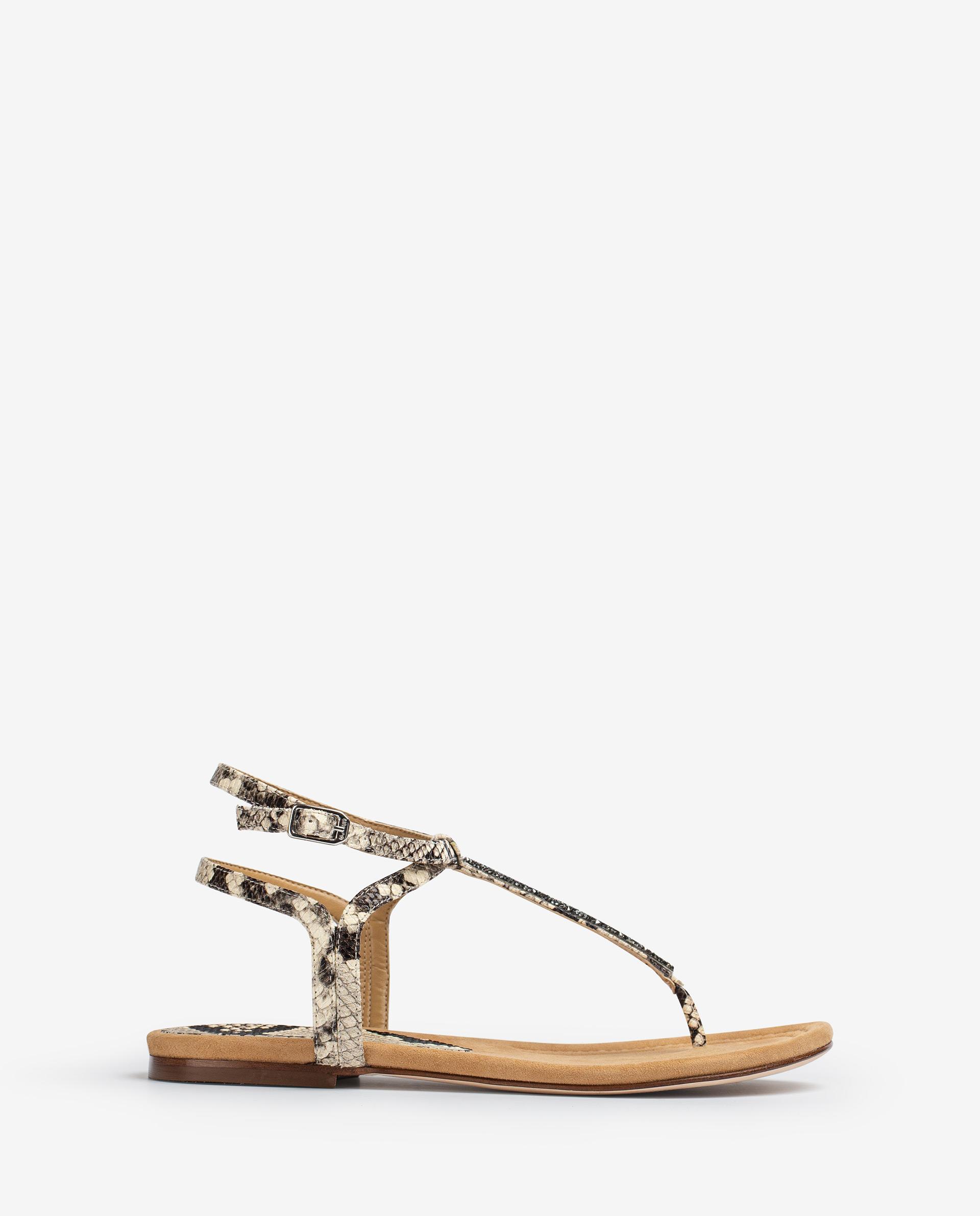 UNISA Flat Swarovski and snake effect leather thong sandals CHARLE_21_VIP 2