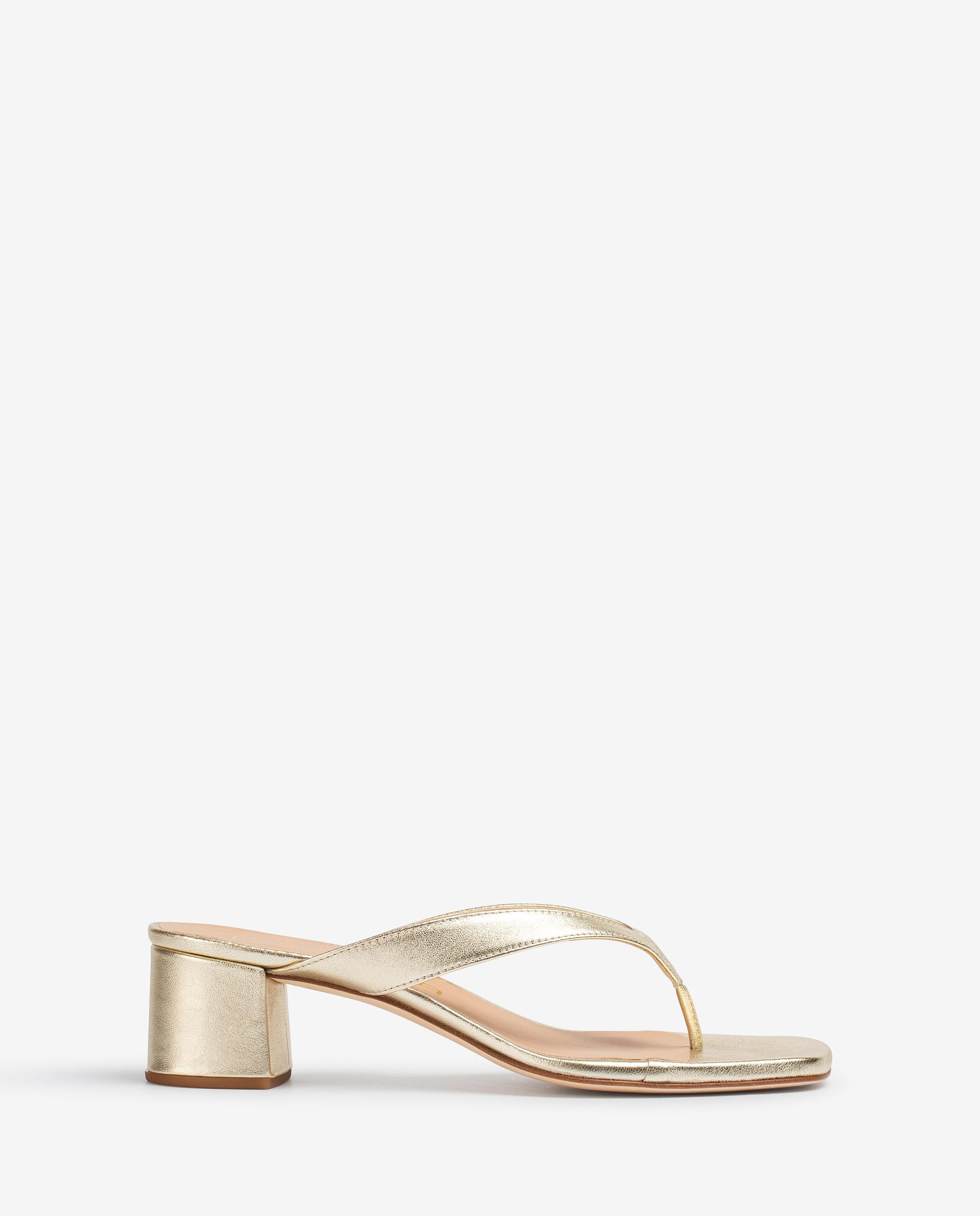 UNISA Metal effect leather thong sandals with square toe KOLMA_21_LMT 2