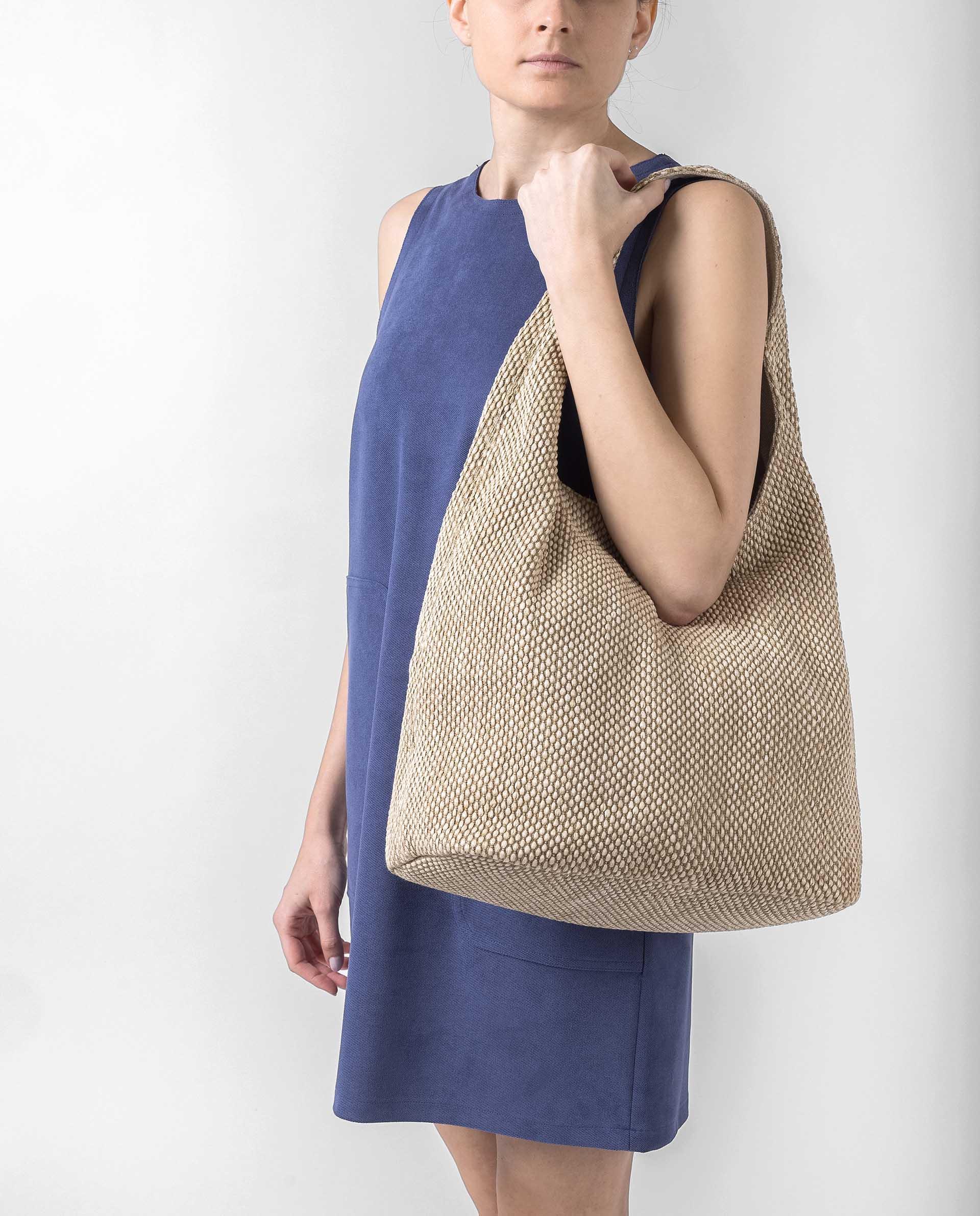 UNISA Raffia fabric hobo bag ZISLOTE_21_ROP 2