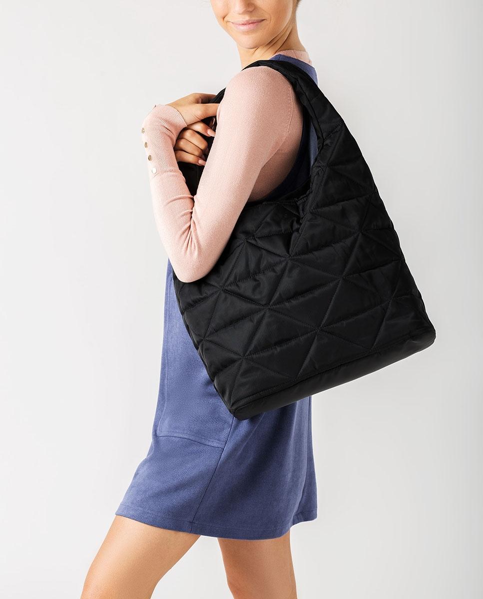 UNISA Nylon fabric hobo bag ZISQUILT_BUS black 2