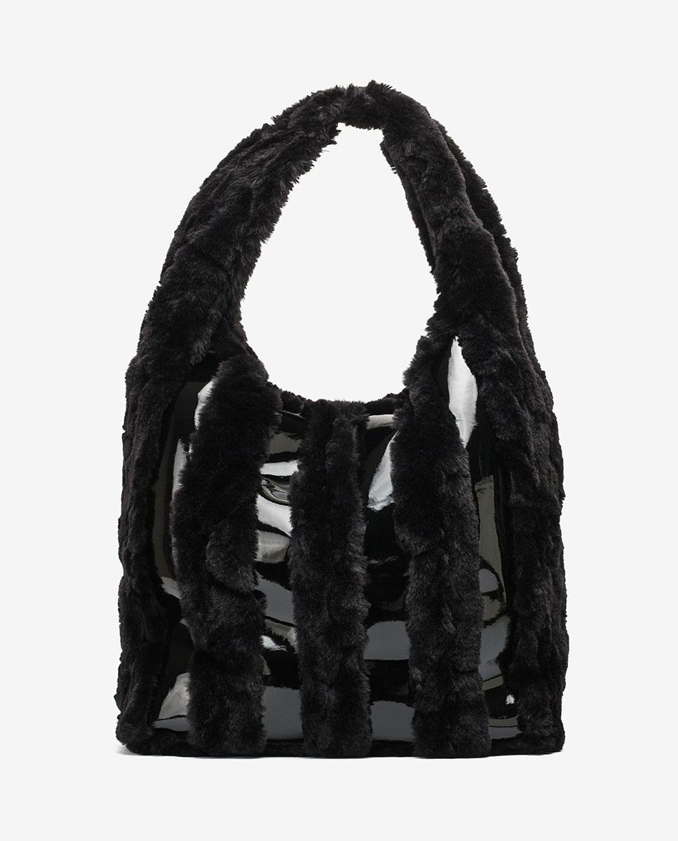 UNISA Patent and fur hobo bag ZISTRIPE_HR_VE black 2