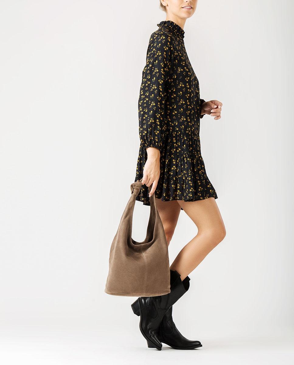 UNISA Kid suede shopper bag. ZITITI_BS taupe 2