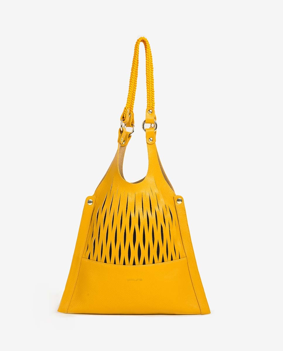 UNISA Mesh leather shopper bag ZRETRI_MM limone 2