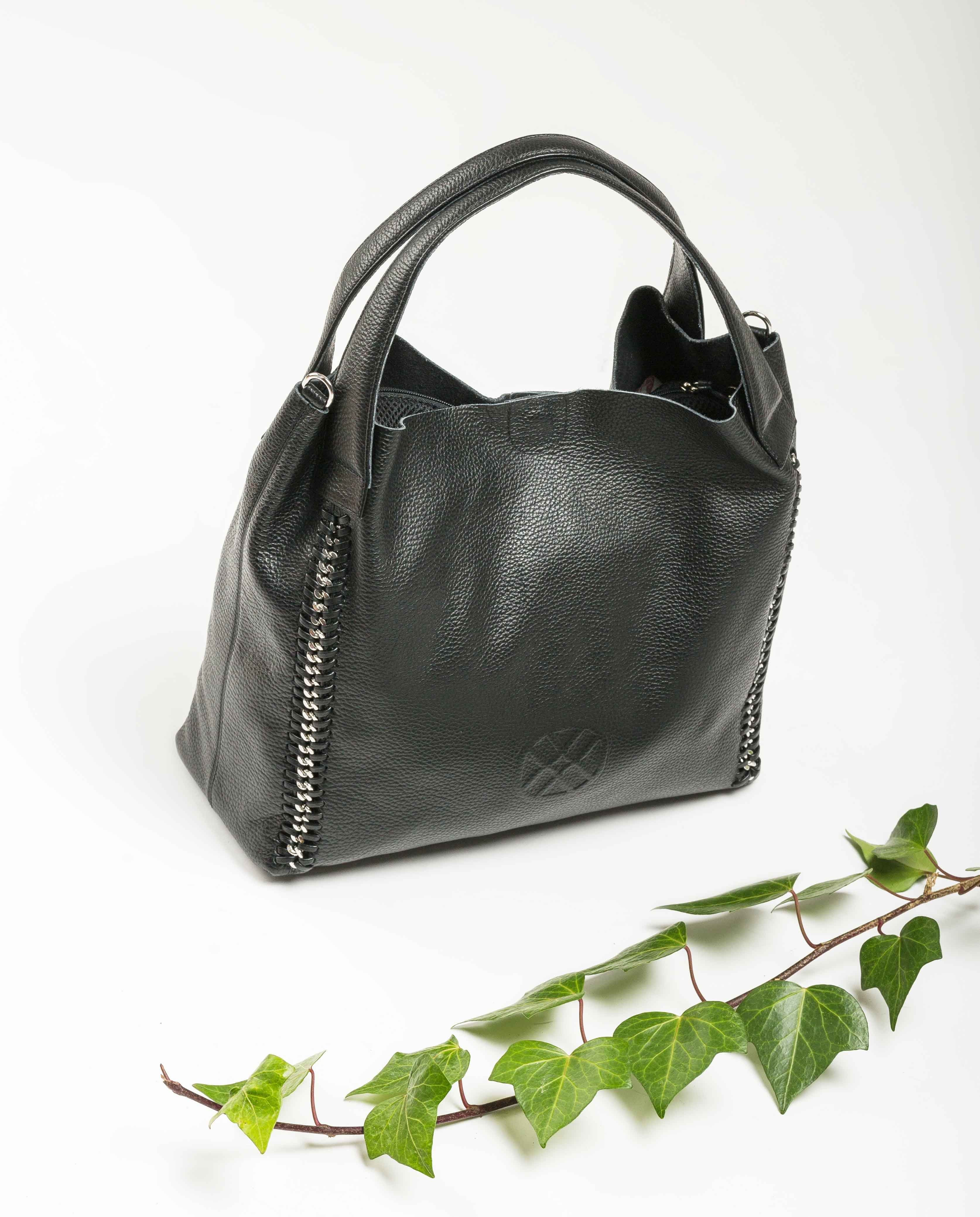 UNISA Leather tote bag ZSAMBA_MM black 2
