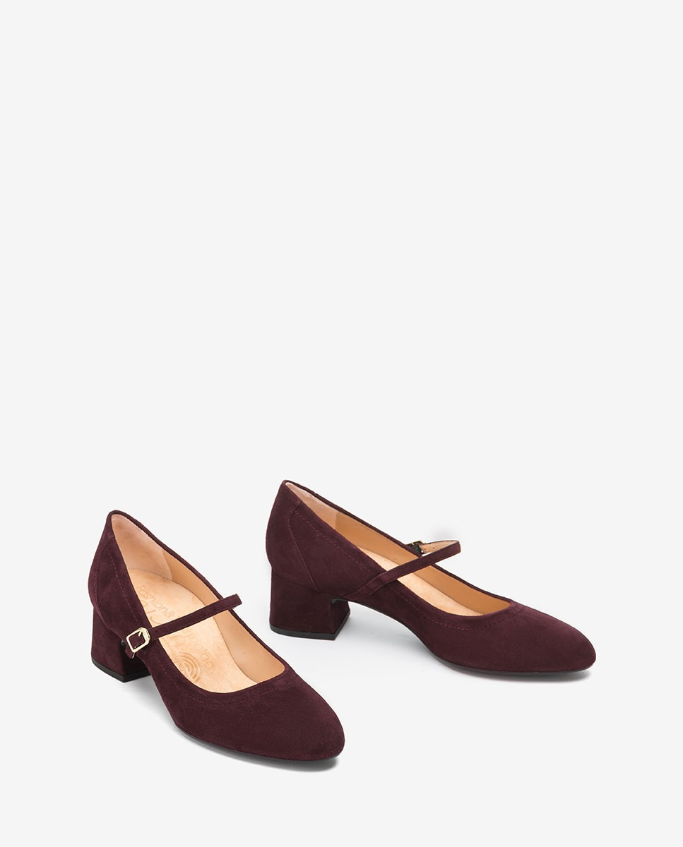 UNISA Burgundy kid suede Mary Jane shoes LEAN_KS grape 2