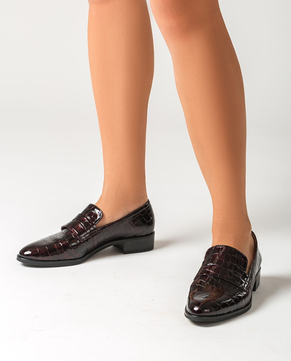 UNISA Burgundy croc effect patent leather loafers BARBER_CSH grape 2