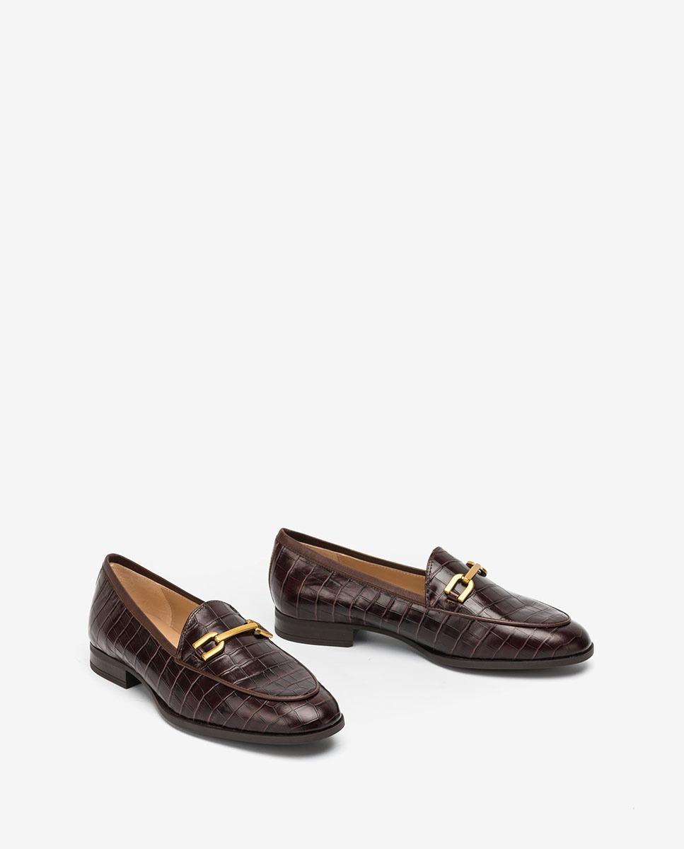 UNISA Brown croc effect gloss leather loafers DAIMIEL_F20_LAU fondant 2