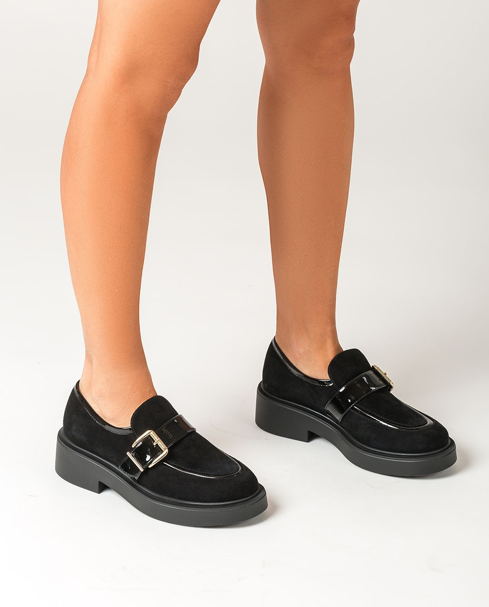 UNISA Contrast loafers with platform ELITE_KS_PA black 2