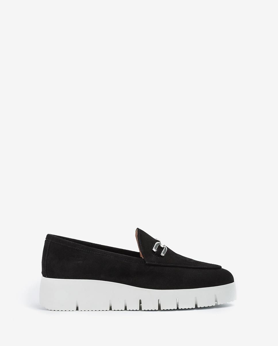 UNISA Kid suede loafers with platform FAMO_KS black 2