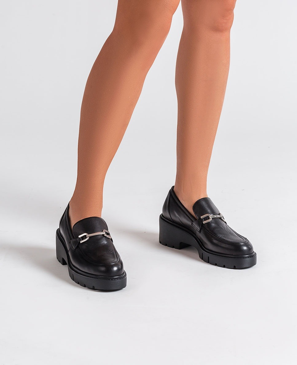 UNISA Black platform loafers JULE_VU black 2