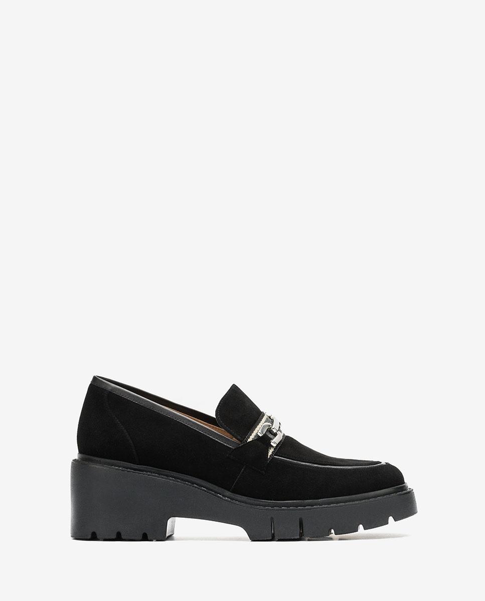 UNISA Platform kid suede loafers JULIOS_KS black 2
