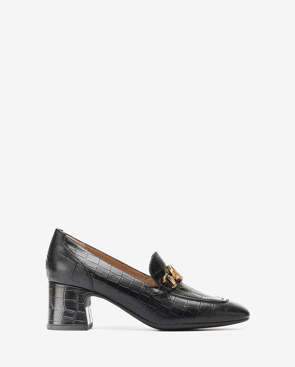 UNISA Black heeled loafers with Monogram MAJAL_LAU black 2