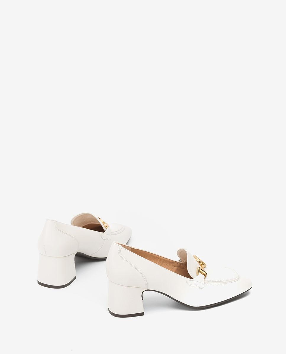 UNISA White heeled loafers with Monogram MAJAL_NA ivory 2