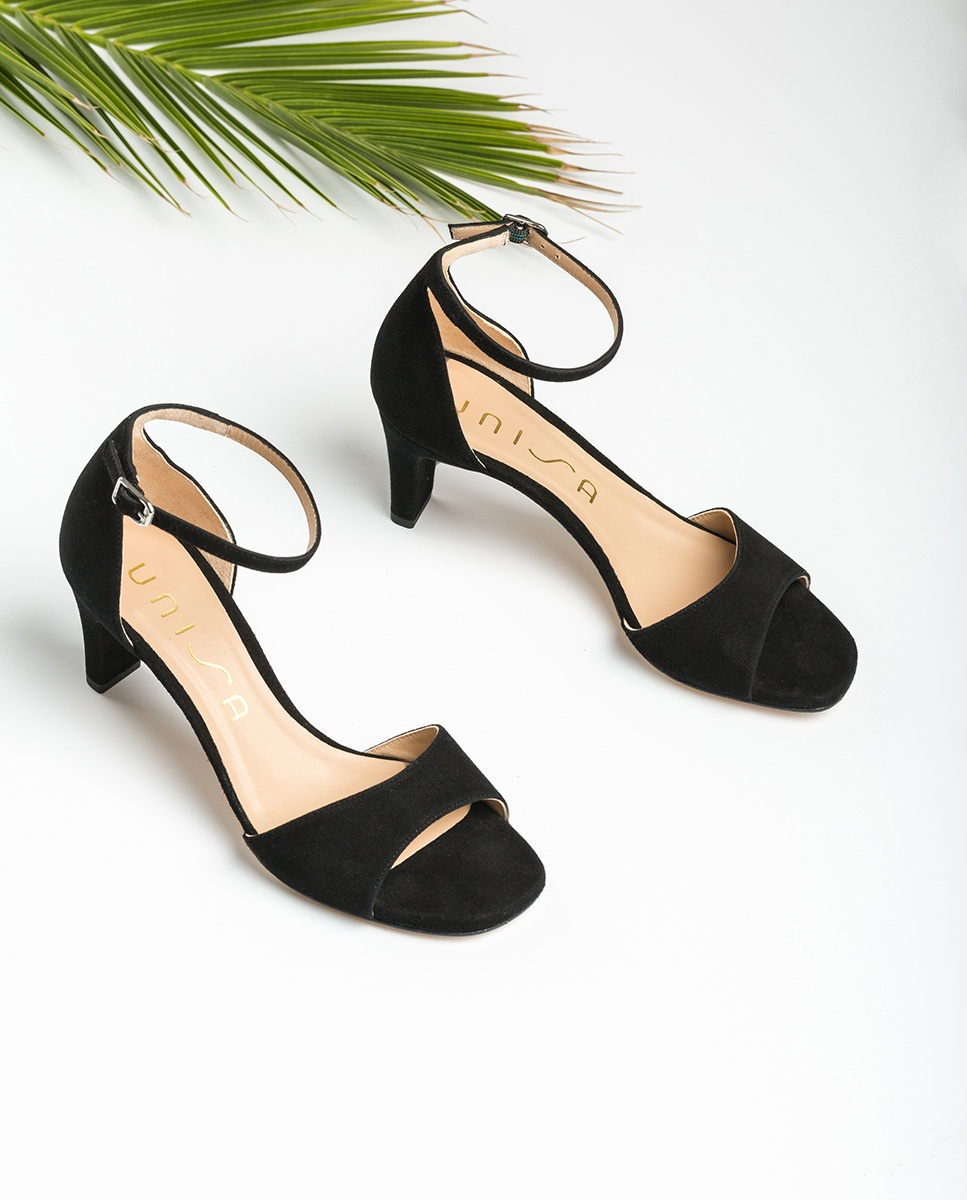 UNISA Kid suede sandals medium heel MIDAS_20_KS black 2