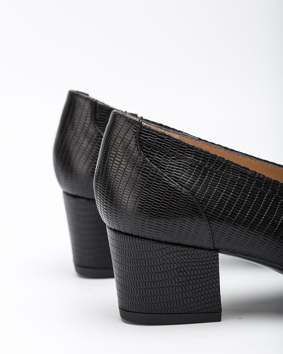 UNISA Black engraved leather women pumps JICHI_F20_BTJ black 2