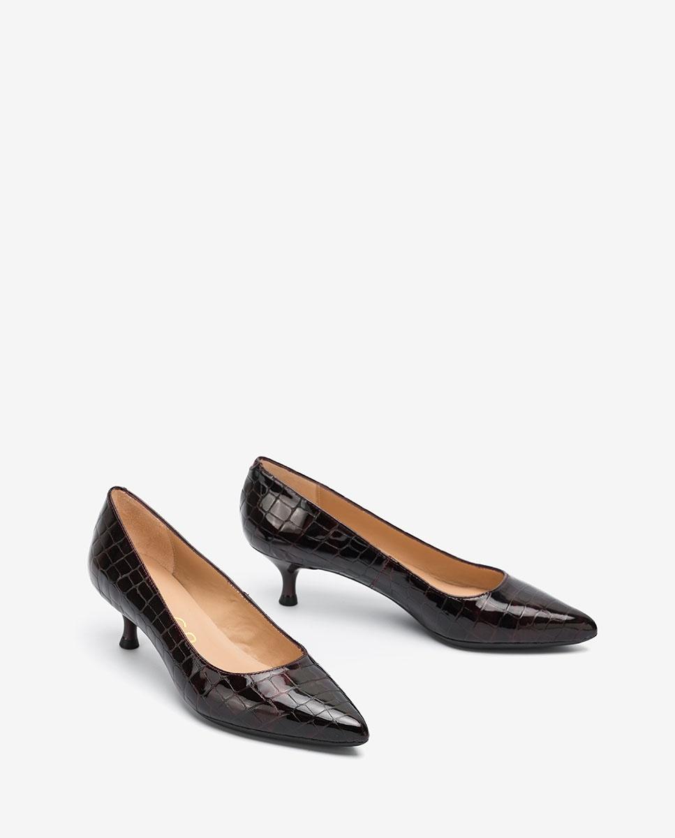 UNISA Burgundy croc effect patent leather pumps JIRON_F20_CSH grape 2