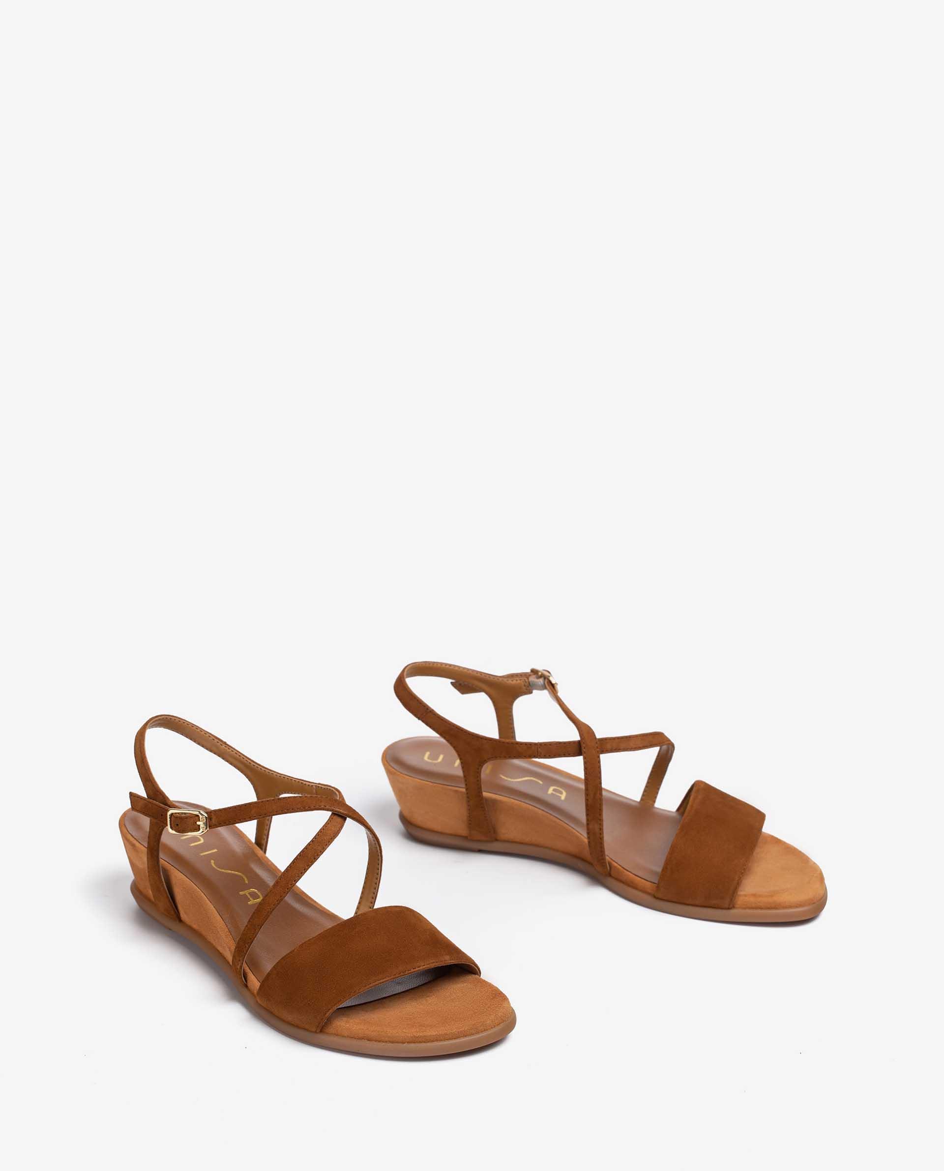 UNISA Kid suede sandals with instep strap BAKIOSIN_KS 2