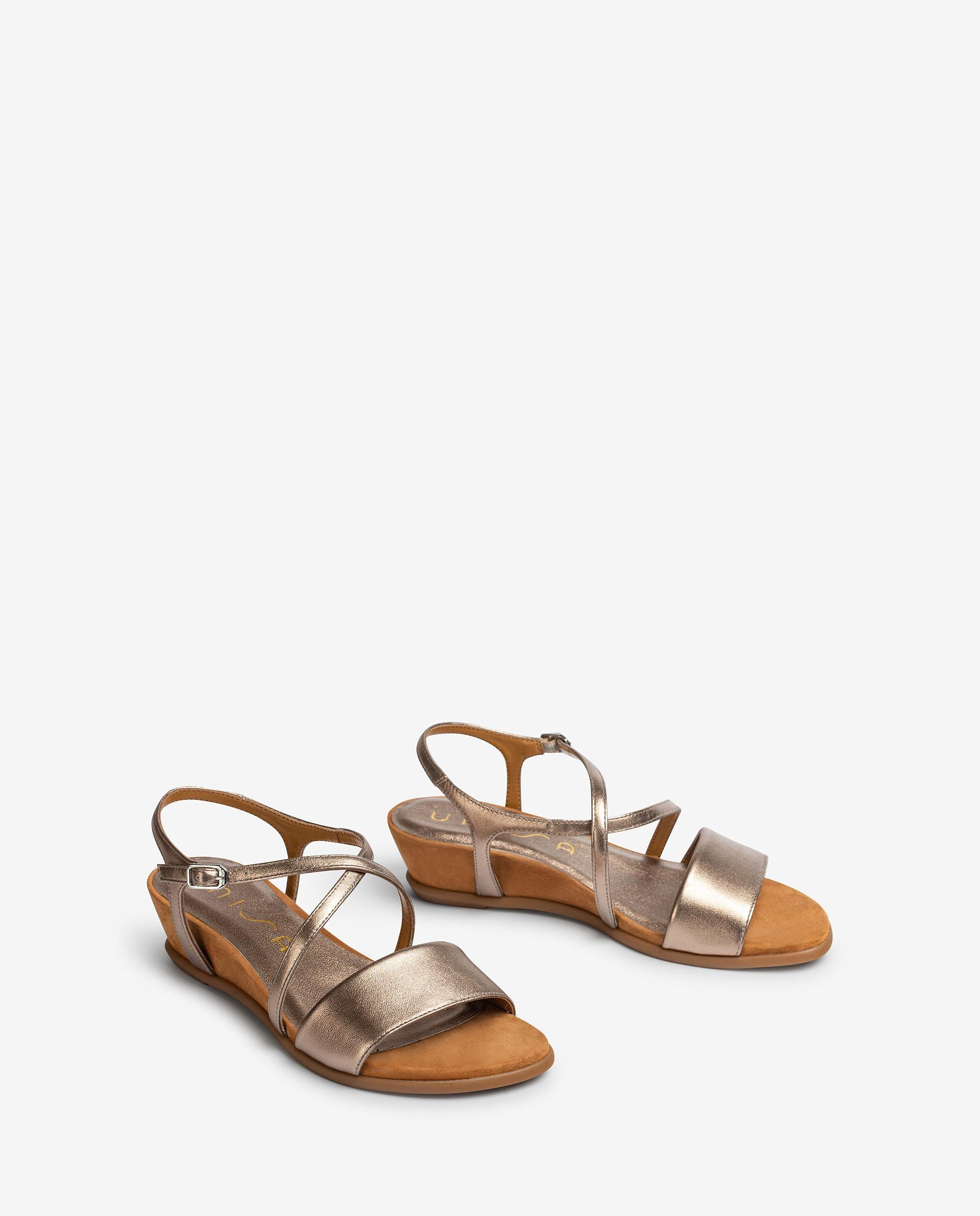 UNISA Metal effect leather sandals with instep strap BAKIOSIN_LMT 2