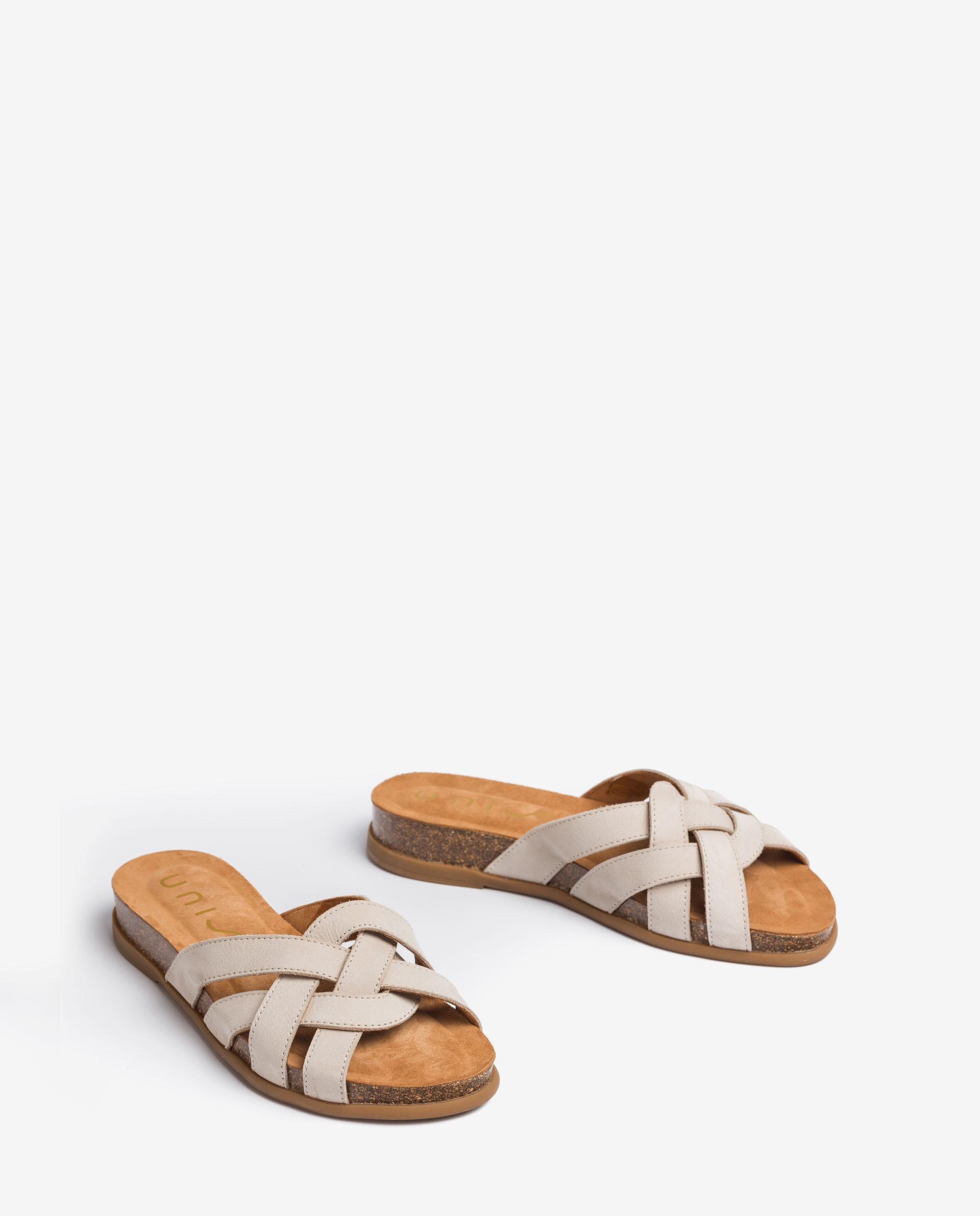 UNISA Flat leather mules CABRU_BLU 2