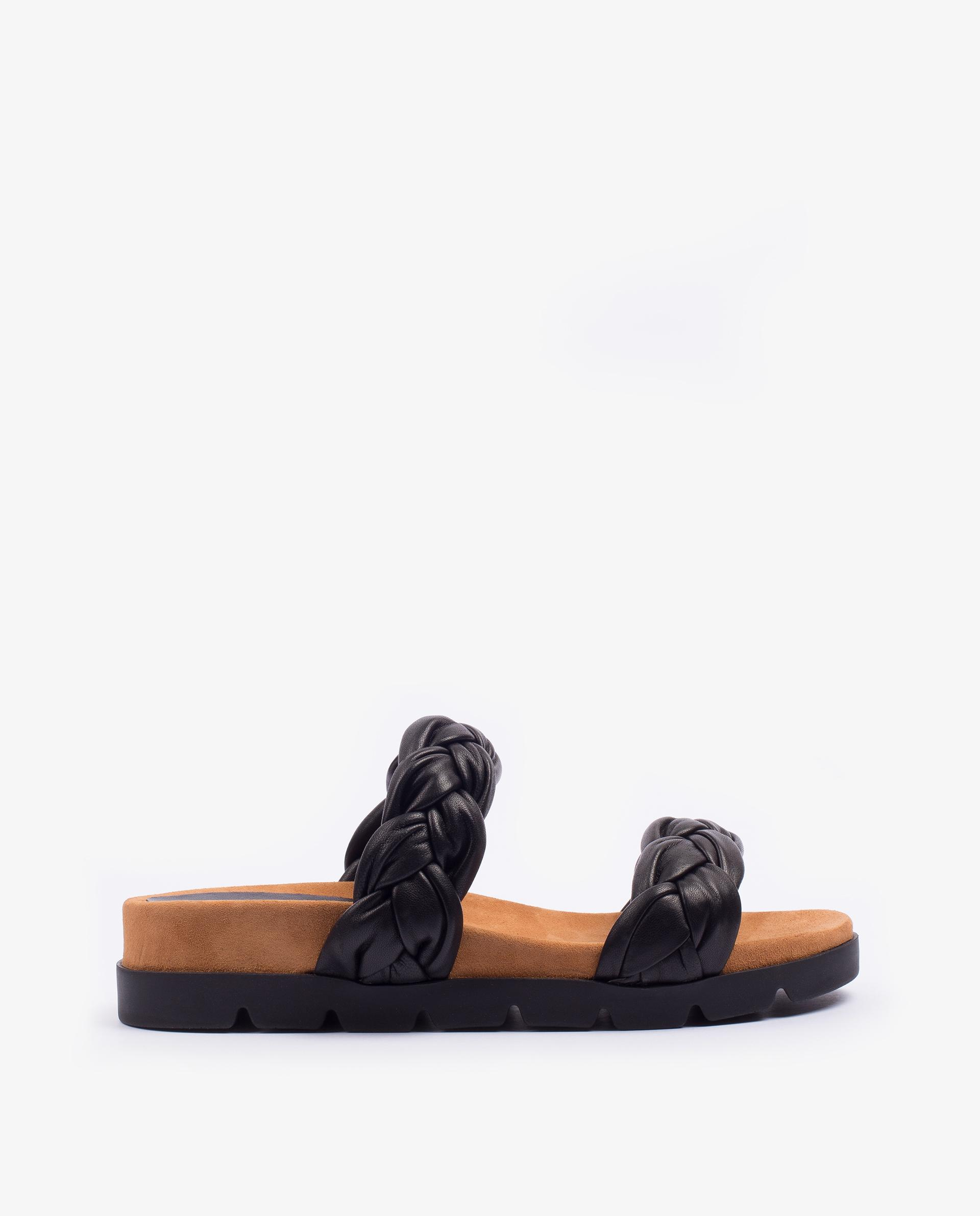 UNISA Flat leather sandals with braided straps CAIRO_NS 2